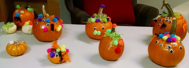 photo of decorated pumpkins
