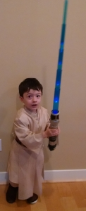 photo of toddler in Ben Kenobi costume