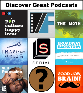 Logos from recommended podcasts