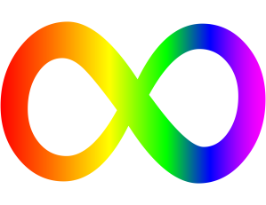 a rainbow infinity sign, used to symbolize neurodiversity