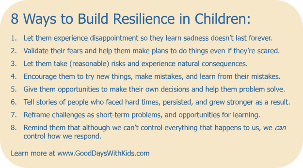 List of 8 ways to build resilience in children